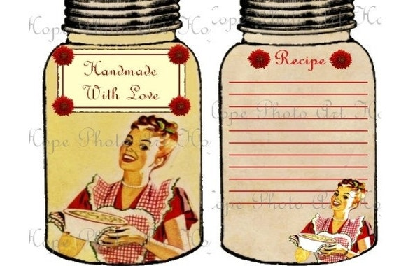 Handmade With Love Retro Mason Jar Gift Tags with Recipe Cards Digital Collage Sheet labels ATC ACEO greeting cards - U Print JPG 300dpi