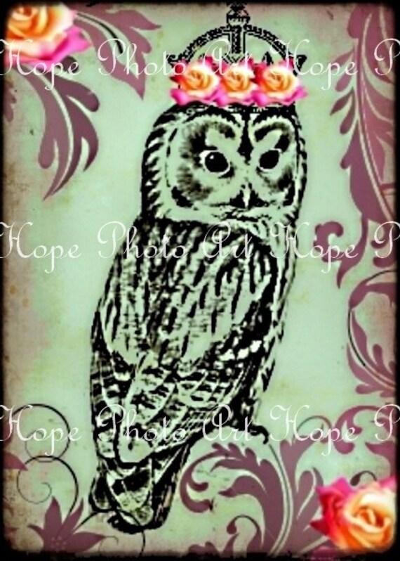 Princess Owl Royal Crown Digital Collage Sheet Image Transfer Burlap Feed Sacks Canvas Pillows Towels greeting cards UPrint 300jpg
