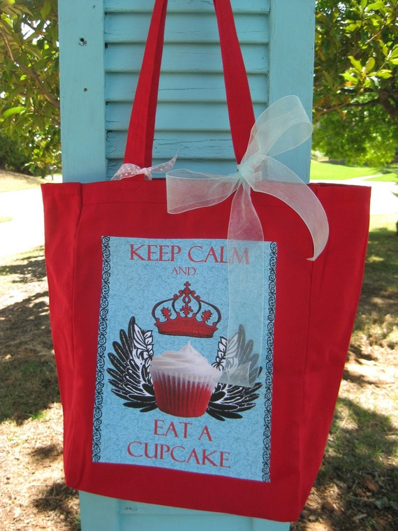 Keep Calm and Eat A Cupcake Digital Collage Sheet Image Transfer Burlap Feed Sacks Pillows Tea Towels UPrint 300jpg