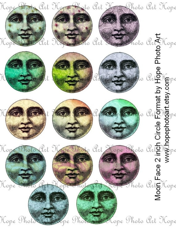 Man in the Moon 2 Inch Circle Digital Collage Sheet Halloween rounds backgrounds tags stickers buttons pocket mirror - U print 300dpi jpg