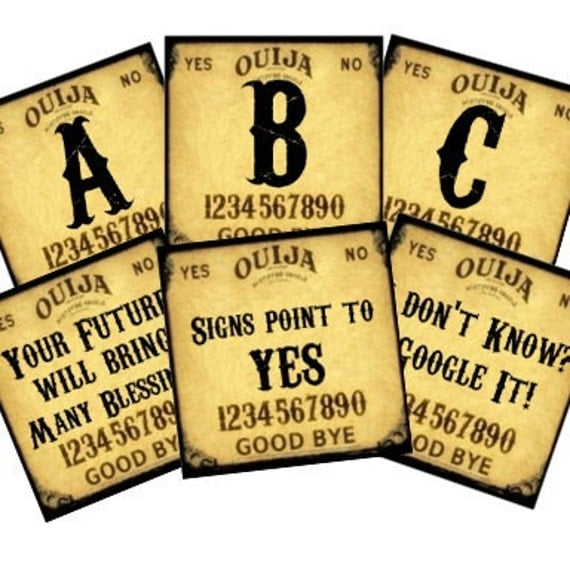 Ouija Board 2x2 Halloween Monograms Words Predictions Digital Collage Sheet tags key chains magnets jewelry glass soldered UPrint 300jpg