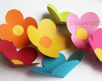 Paper Flower of four petals printable PDF template--print template file on color cards no color ink needed.  4 inch and 5.5 inches 0054