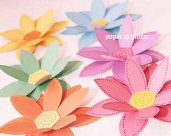 Paper Flowers PASTEL Rainbow Paper Craft Set  - 2 sizes - Printable PDF 0045