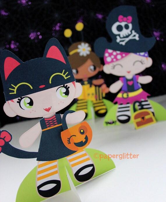 Printable Paper Dolls Halloween Kawaii Set PDF