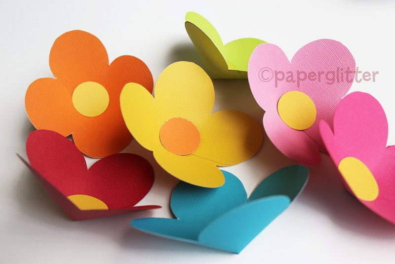 Paper Flower Of Four Petals Printable PDF Templateprint