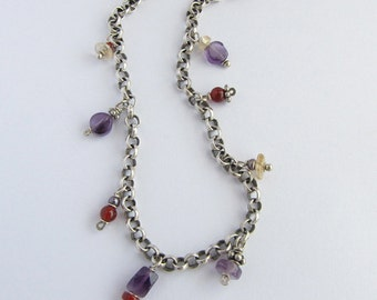 Amethyst Carnelian Citrine Pearl & Sterling Silver Necklace