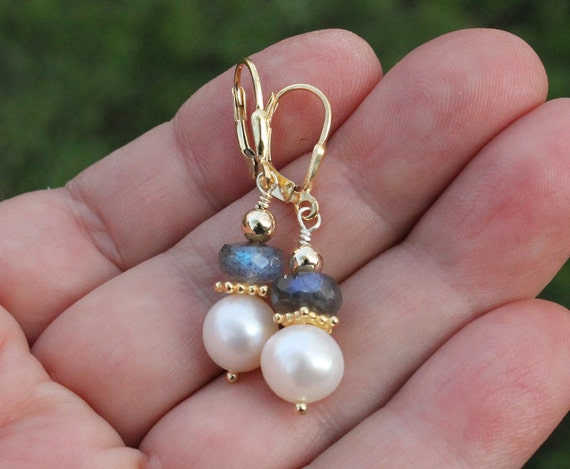 Pearl drop earrings with Labradorite /  Lever Back ear wires / Gold Vermeil