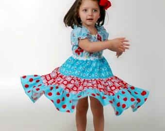 Twirly Peasant Dress Pattern, Tiered Peasant Dress Pattern, Scoop Neck, Long/Flouncy/Short Sleeve PDF Pattern
