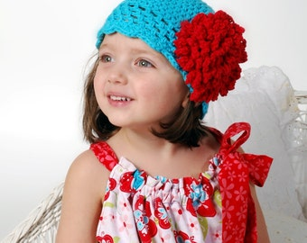 Crochet Hat Pattern with Fluffy Crochet Flower Combo Roaring 20's Pattern, Beanie, PDF Epattern, Sizes Newborn-Adult