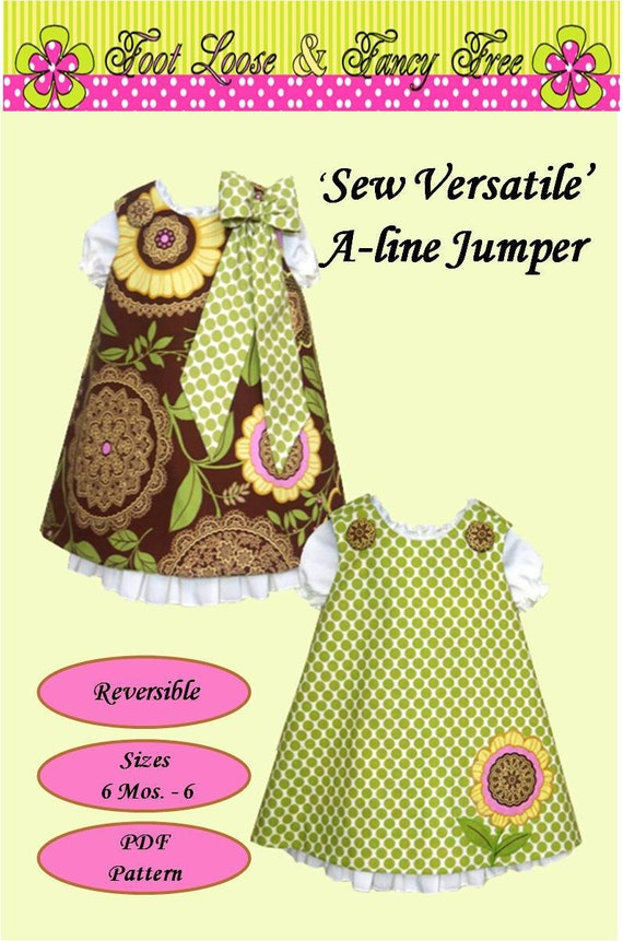 Reversible Aline Jumper Dress and Under Slip Patterns  Combo Pattern Set PDF Sewing Pattern 6M-6Child Back to School Fall