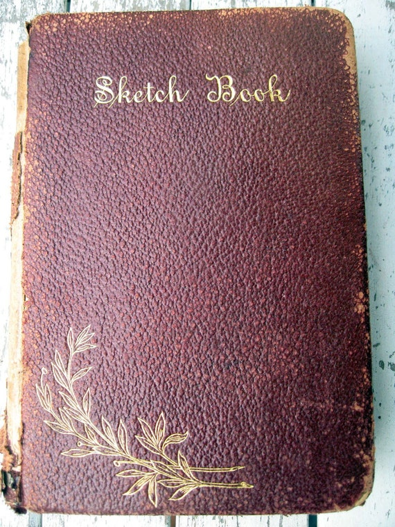 Antique vintage book with leather cover, Washington Irving Sketch Book