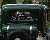 And They Lived Happily Ever After Vinyl Wall Decal - Wedding Getaway Car Window Removable Sticker Transfer 12h x 22w WD0002