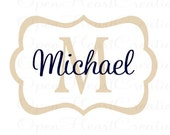 Personalized Baby Name Wall Decal - Modern Rectangle Frame with Initial and Name Monogram Vinyl Lettering 22H x 32W FN0238
