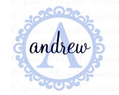 Personalized Name Wall Decal - elegant scallop circle frame border initial name baby boy girl nursery vinyl wall decal 22h x 24w FN0270