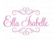 Girls Name Name Wall Decal - Baby Girl Teen Custom Name Vinyl Decal with Heart Accents 22h x 36w FN0279