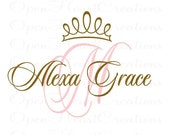 Princess Wall Decals - Initial and Name with Princess Tiara Accent - Vinyl Wall Decal for Baby Nursery Bedroom Girl Teen 28h x 36w FN0289