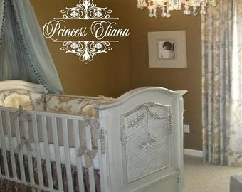 Princess Wall Decal Personalized with Name and Damask Accents - Princess Tiara Baby Girl Nursery 22h x 30w FN0039