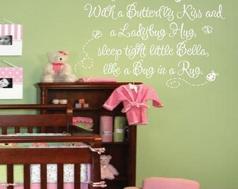 With a Butterfly Kiss and a Ladybug Hug Wall Decal with Personalized Baby Name - Girl Room Decor Quote Saying Poem INCHES BA0086