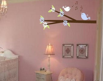 Nursery Tree Branch Vinyl Wall Decal with Singing Birds and Flowers for Baby Girl or Boy 18H x 36W BR0006