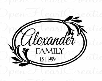 Framed Family Name Wall Decal - Personalized Monogram Vinyl Wall Decal - 14 x 22 FN0003