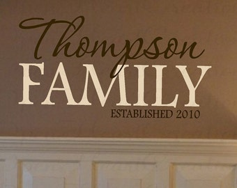 Family Name Wall Decal - Personalized and Custom Vinyl Wall Lettering - Year Established 22H x 36W PD0016