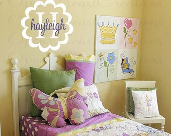 Girl Name Decal - Flower Frame Initial and Name Monogram Wall Decal - Girl Toddler Baby Nursery Teen Vinyl Wall Sticker  FN0251