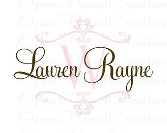 Nursery Wall Decal - Personalized Initial and Name Monogram Vinyl Wall Sticker -  Shabby Chic Heart Accents 22H x 32W FN0257
