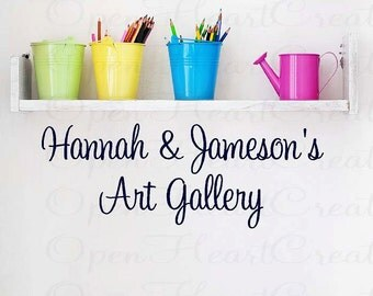 Childrens Art Gallery WAll Decal with Personalized Names - Kids Children Playroom Art Display 10H X 32W Qt0195