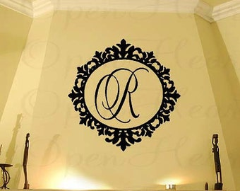 "Family Initial Monogram Vinyl Wall Decal with Elegant Ornate Frame Border 22"" Circle FI0021"