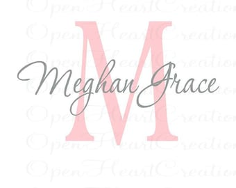 Initial and Name Vinyl Wall Decal - Baby Nursery Girl Boy Teen Wall Monogram Lettering IN0038