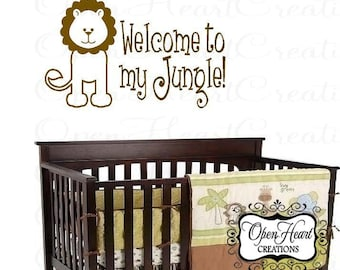 Welcome to My Jungle Vinyl Wall Decal - Jungle Baby Nursery Wall Art with Lion Animal 22H X 36W Ba0091