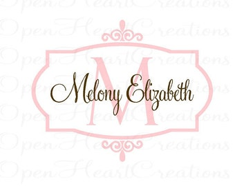 Initial and Name Vinyl Wall Decal with Frame Border - Baby Nursery Monogram Vinyl Lettering Decal Sticker FN0264