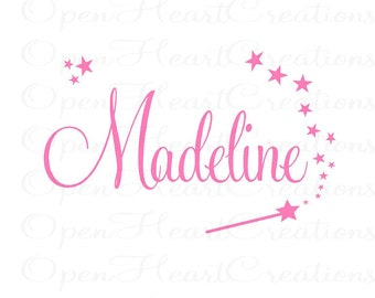 Princess Name Wall Decal - Personalized Name Monogram Vinyl with Wand and Stars - Baby Nursery Girl Play Room FN0152