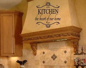 Kitchen Wall Decals - Kitchen the Heart of Our Home Vinyl Wall Decal Saying Quote Transfer Stickers 22h x 22w QT0150