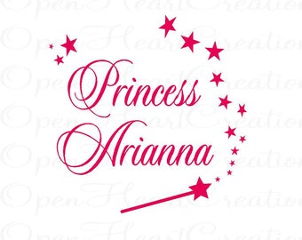 Princess Name Wall Decals - Girl Vinyl Decal with Personalized Name and Wand Stars 22H x 22W BA0136