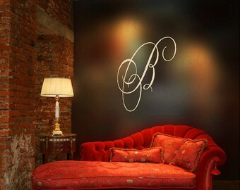 Personalized Initial Family Last Name or First Name Vinyl Wall Decal - Entry Way Bedroom Living Room Decor 26H x 22W WD0018