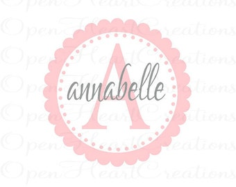 Children Wall Decal - Initial and Names Personalized Baby Nursery Monogram Vinyl Wall Lettering 22Circle FN0069