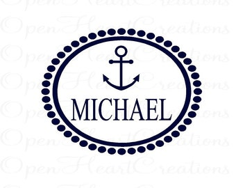Personalized Nautical Vinyl Wall Decal - Monogram Baby Boy Decal with Name Anchor and Oval Polka Dot Frame Border 22H x 28W FN0325