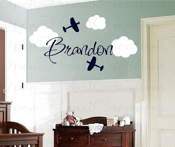 Airplane Vinyl Wall Decals with Clouds and Name - Boy Name Monogram Vinyl Wall Decal - Kids Wall Decals FN0230