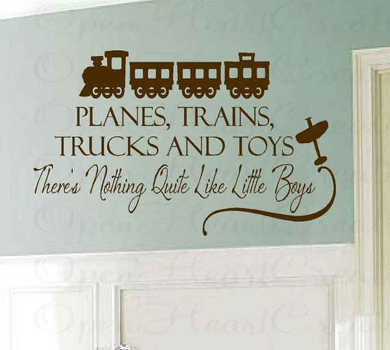 Welcome Home Baby Boy Quotes: Boy Wall Decal Saying Planes Trains Trucks And Toys Vinyl