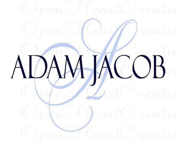 Initial and Name Vinyl Wall Decal - Elegant Monogram Decal for Baby Nursery Wedding Master Bedroom Family Name 22h x 30w INA0024