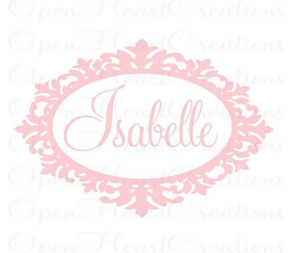Girl Name Wall Decal - Shabby Chic Baby Nursery Vinyl Wall Decal with Name and Frame Border 22H x 32W FN0282