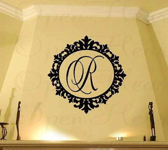 "Family Initial Monogram Vinyl Wall Decal with Elegant Ornate Frame Border 22"" Circle FI0021"