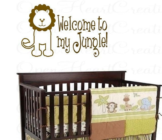 Jungle Vinyl Wall Decal - Welcome to My Jungle Baby Nursery Playroom Wall Art with Lion Animal 22H X 36W BA0091