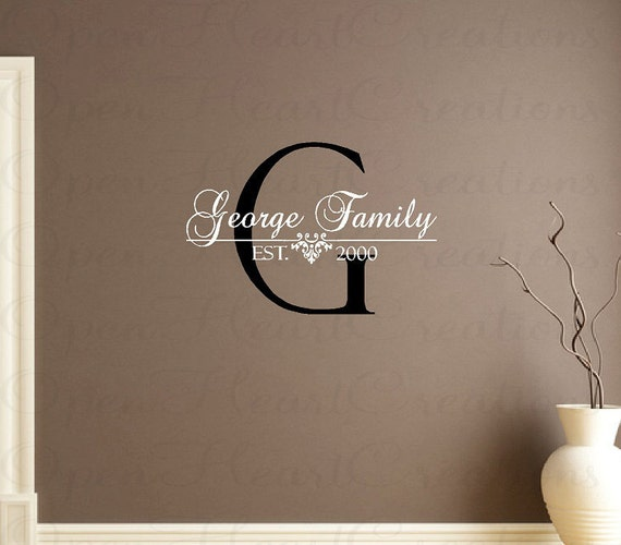 personalized family name vinyl wall decal last name with. Black Bedroom Furniture Sets. Home Design Ideas