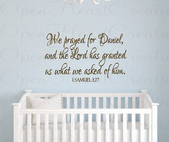 Christian Wall Decor For Nursery : Christian baby nursery wall decals we prayed for this child