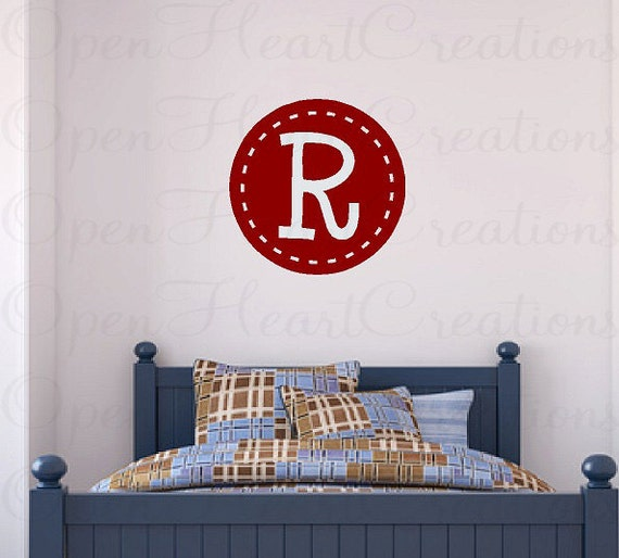 Initial Monogram Wall Decals - Fun Vinyl Transfer with Circle Border and Single Initial 22 inch Circle FI0025