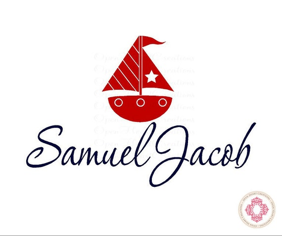 Boat Wall Decals Personalized with Name - Sailboat Nursery Decals Customized 22H x 32W BA0031