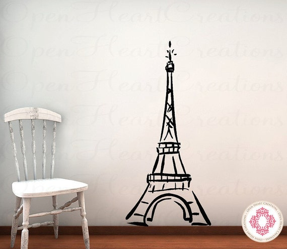 Eiffel tower vinyl wall decal baby nursery by openheartcreations - Eiffel tower decor for bedroom ...