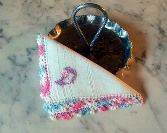 """Vintage White Linen Hanky/handkerchief with Pink and Blue Crocheted Edging and """"D"""" monogram in pink and blue"""